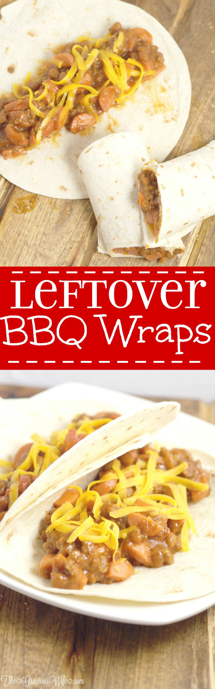 These Chuckwagon Leftover BBQ Wraps are a quick and easy family dinner recipe that uses up your leftovers from a BBQ or cookout. They're so tasty and super easy! My kids love them (and I do too!)