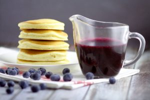 Blueberry Maple Syrup - Dress up your pancakes with this sweet and sticky recipe with fresh blueberries and an added hint of the traditional maple flavor. Mmmm. Super yummy breakfast idea!