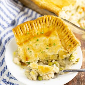 The BEST Chicken Pot Pie you will ever taste with a flaky, buttery crust and chicken and vegetables in a creamy herbed gravy. It is the most well-loved meal in our own house AND on the blog.