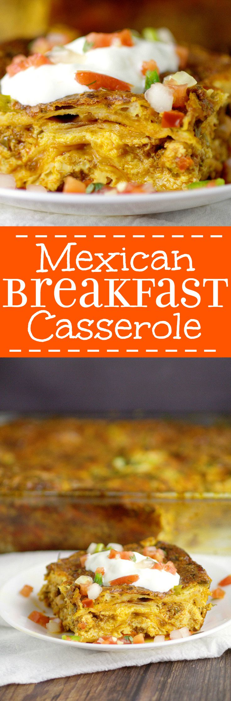 Mexican Breakfast Casserole recipe is a make-ahead, overnight breakfast casserole recipe, packed with eggs, gooey cheese, and spicy chorizo and peppers.  What a great breakfast recipe idea for holidays like Christmas, Thanksgiving, or Easter!