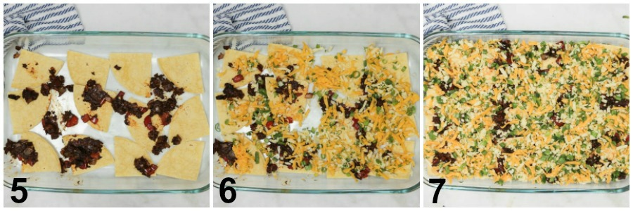 Collage of instructions below of casserole being assembled in a glass baking dish on a marble counter.