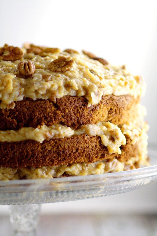 A traditional German Chocolate Cake Recipe made from scrath with sweet German chocolate and topped with a caramel-y coconut pecan frosting. One of our family favorites! I make this every year for my husband's birthday!