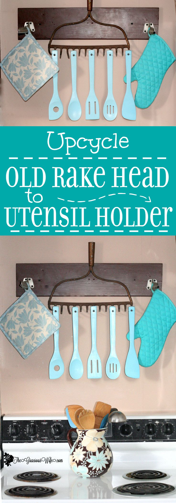Upcycle: Old Rake Head to Rustic Utensil Holder | The Gracious Wife