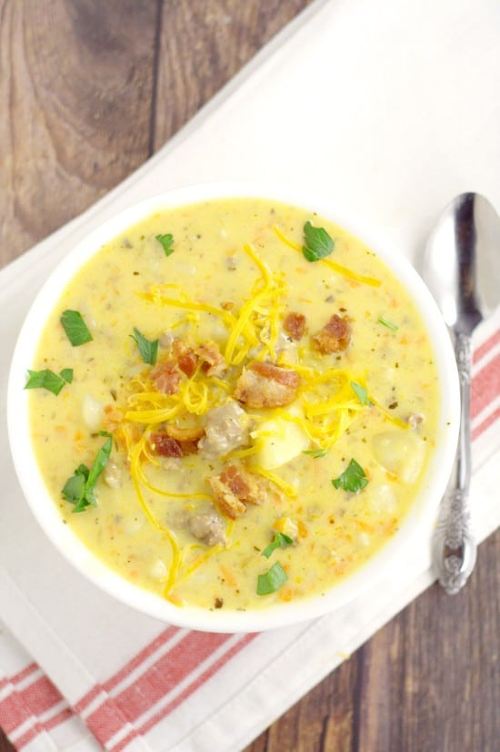 Cheeseburger Soup has all your favorite parts about a cheeseburger, including ground beef, cheese, and bacon, all in one rich, creamy soup with potatoes. This is my all-time favorite soup recipe! It is sooo good. Cheesy and creamy.