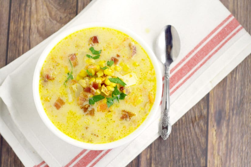 Hearty, cozy, creamy soup recipe, Southern Corn Chowder with potato, bacon, cheese, vegetables, and of course, lots of corn, will warm you up on those chilly days. Fresh, frozen, or canned corn all work for this delightful warm soup recipe. Serve with warm, buttery, crusty bread.