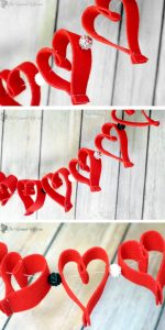 Valentine's Day Heart Felt Garland- Easy and frugal DIY heart felt garland for Valentine's Day decor. From TheGraciousWife.com