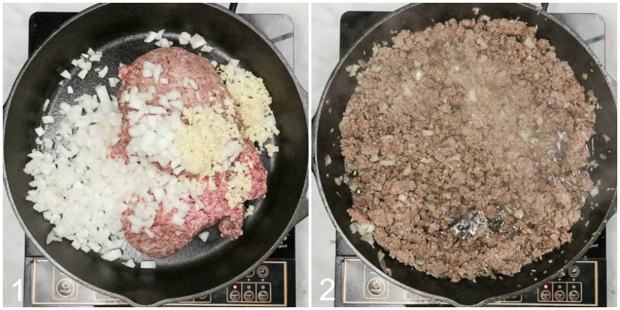 Collage of ground beef, onion, and garlic being added to a cast iron skillet and browned.