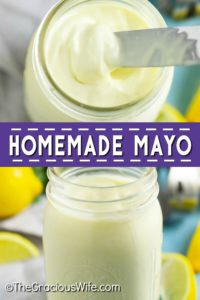 Easy, creamy Homemade Mayonnaise is healthy and can be made in just 2 minutes with fresh simple ingredients! Use the fail-proof immersion blender method or make it in a food processor! The best mayonnaise I've made at home! I make it with olive oil.