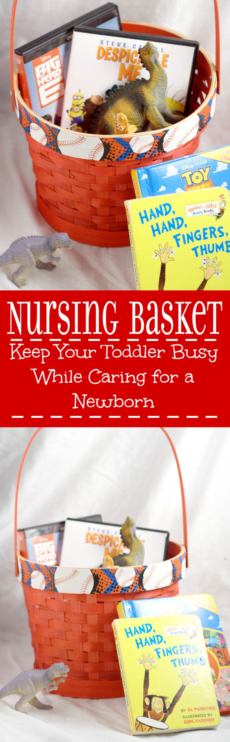 Keep your toddler busy while you care for your new baby! If you're on your second pregnancy, with a baby boy or a baby girl, and you already have a toddler at home, these Nursing Baskets will seriously save your sanity.