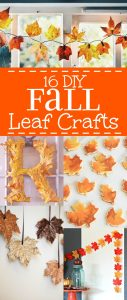 16 Fall Leaf Crafts - DIY Fall decorations and crafts ideas made with leaves that are cheap, easy to make, and perfect for the home. Love these for the Fall season!
