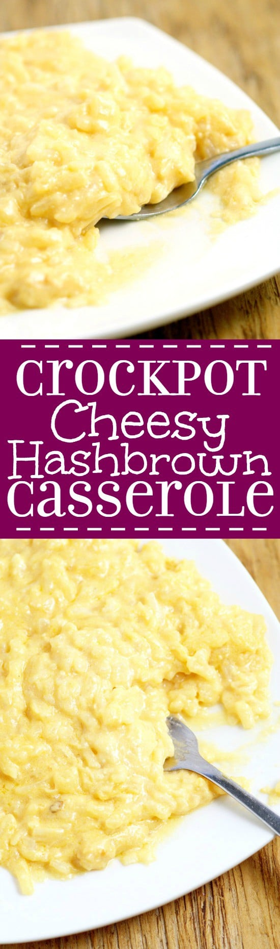 Crockpot Cheesy Hashbrown Casserole recipe is a simple, classic comfort food side dish with salty, starchy potatoes and mounds of gooey cheese. A must-try and family favorite! What a perfect potato side dish recipe! This would be great for Thanksgiving or a potluck!
