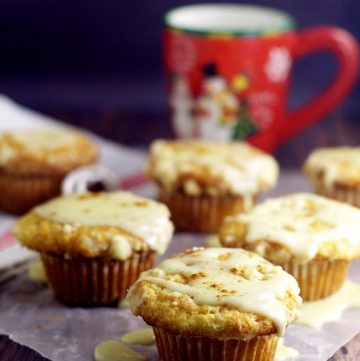 Eggnog Muffinsrecipe with real eggnog to give them a rich, moist texture and flavor with a crunchy streusel topping and a to-die-for eggnog glaze. Perfect recipe for a Christmas morning breakfast!