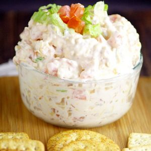 Easy BLT Dip recipe. Salty, crispy bacon and zesty tomatoes in a creamy dip make this BLT Dip recipe amazing.  Perfect easy appetizer or dip recipe to serve at your next gathering! Mmmm.. This would be delicious football food! Bacon!
