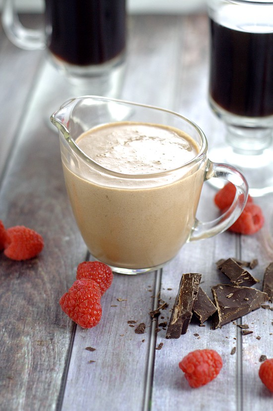 Homemade Chocolate Raspberry Coffee Creamer. Rich, decadent Homemade Chocolate Raspberry Coffee Creamer with smooth, creamy chocolate and a fruity kick of raspberries is sure to transform your coffee into an amazing, indulgent treat. Make some gourmet coffee at home! This would be delicious for Valentine's Day too!