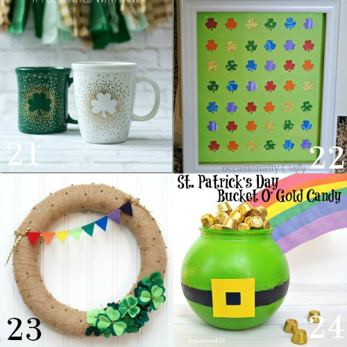 DIY St Patrick's Day Decorations and home decor.  Make beautiful, easy, and frugal DIY decor for St Patrick's with green and rainbows with these lucky 28 DIY St Patrick's Day Decorations ideas.