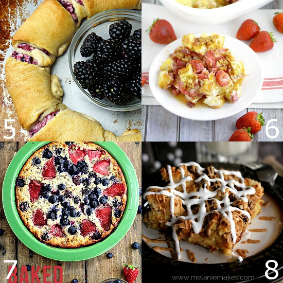 Sweet Breakfast Casserole Recipes perfect for holiday breakfast or brunch.  Start the day off right by indulging your sweet tooth with these easy make-ahead Sweet Breakfast Casserole recipes with fruit, chocolate, and pretty much everything in between. Yum!