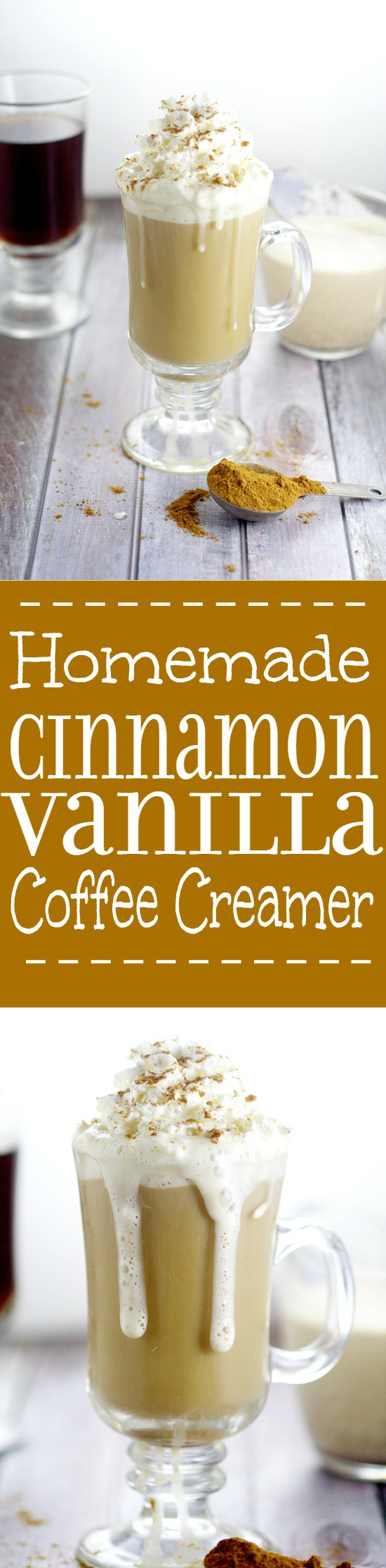 Homemade Cinnamon Vanilla Coffee Creamer recipe.  Frugal and delicious, this spiced, sweet Homemade Cinnamon Vanilla Coffee Creamer recipe will make you look forward to your morning coffee even more.