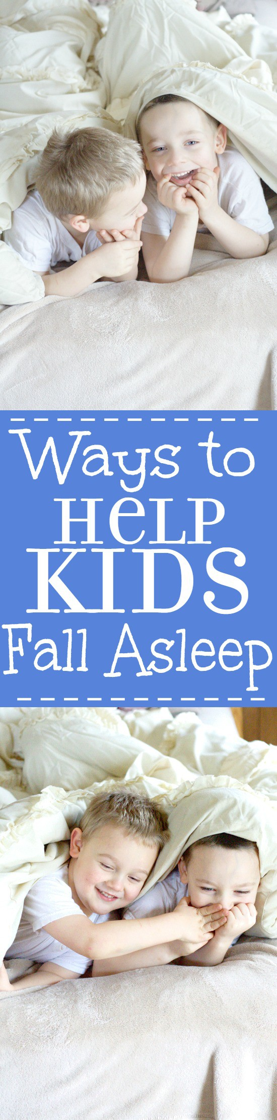 Ways to Help Kids Fall Asleep easier at night, and go to bed without a fight. Make bedtime with the kids easier and better with a simple bedtime routine and these 10 easy tips and ways to help kids fall asleep at night. | Parenting | Kids