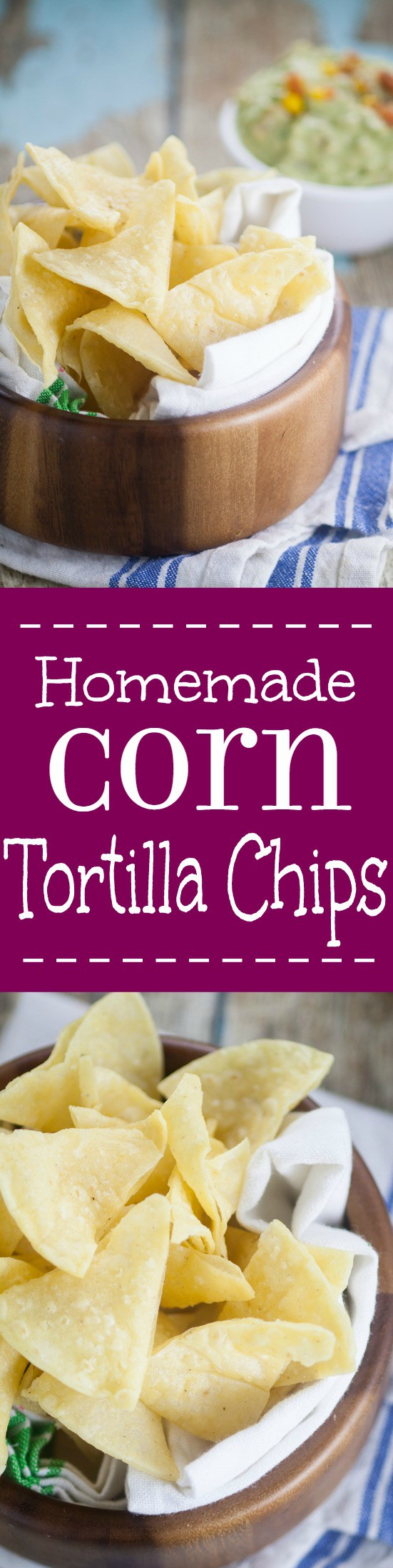 Homemade Corn Tortilla Chips are easy to make! A simple recipe to make your own Homemade Corn Tortilla Chips that are absolutely delicious.  Store bought tortilla chips just can't compete with these crunchy fresh ones!