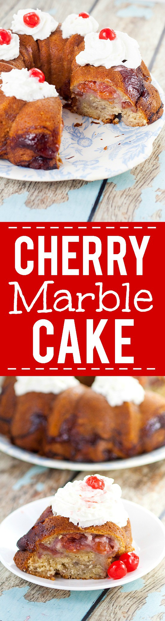 Cherry Marble Cake Recipe - Simple and quick prep, this pretty and sweet Cherry Marble Cake recipe tastes like pound cake with a fresh swirl of tangy cherries. Top with whipped cream & cherry.