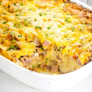 Denver Omelet Casserole Recipe - Make this easy, make ahead overnight Denver Omelet Casserole recipe for a simple and easy egg breakfast casserole that's guaranteed to be a hit.  Love that you can make this breakfast recipe overnight and pop it in the oven in the morning.