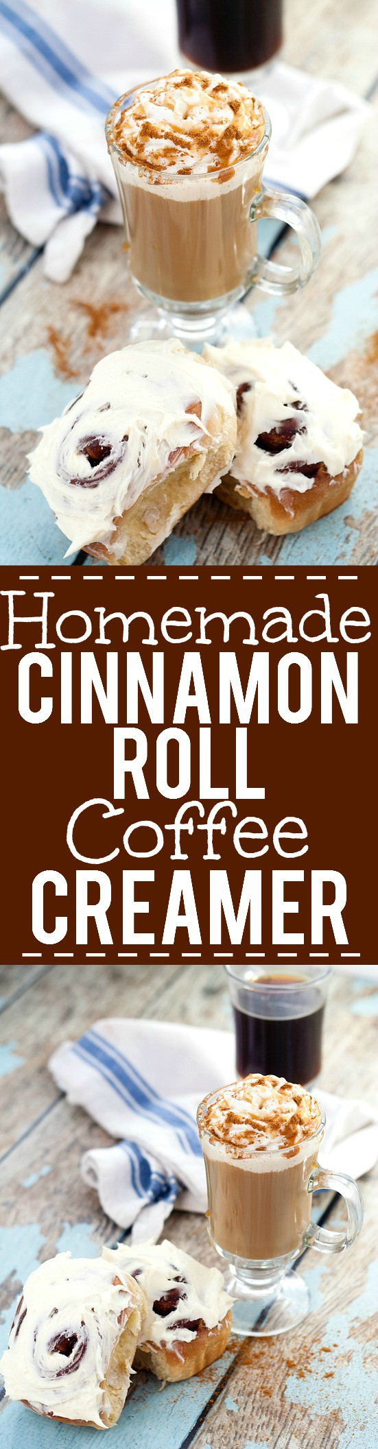 Homemade Cinnamon Roll Coffee Creamer recipe - Have your coffee as a decadent breakfast with this Cinnabon inspired Homemade Cinnamon Roll Creamer recipe with cinnamon, vanilla, and brown sugar. YES! I LOVE Cinnabon!