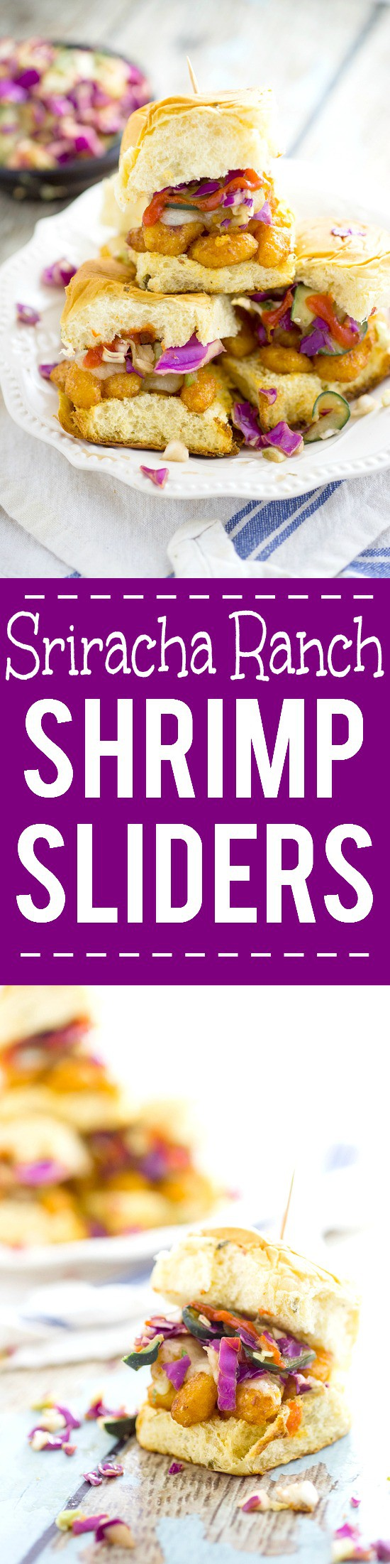 Sriracha Ranch Popcorn Shrimp Sliders recipe - a quick and easy dinner recipe and a classic-gone-coastal, these zesty Sriracha Ranch Popcorn Shrimp Sliders topped with cheese and a cool, crisp fresh slaw are a perfect quick and easy Summer dinner recipe.
