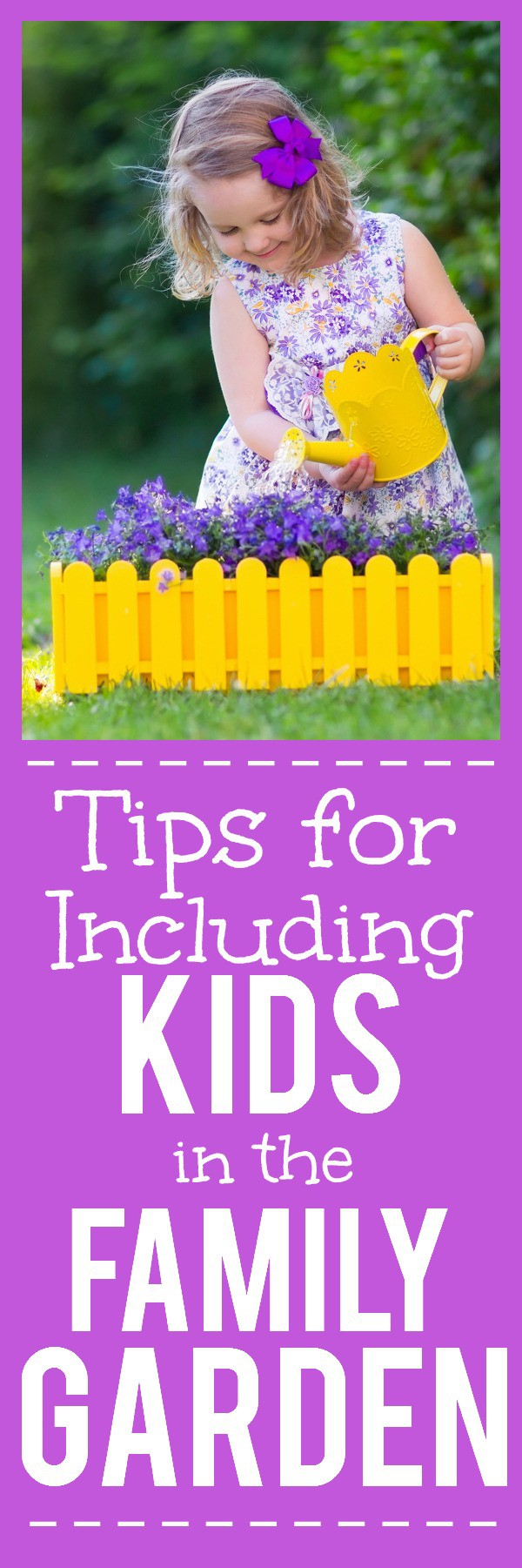 9 Tips for Including Kids in the Family Garden - Gardening isn't just for grown ups.  Get the kids involved in planning, planting, growing, and harvesting with these 9 Tips for Including Kids in the Family Garden. This makes a great Spring and Summer kids activity and will keep them busy when they're out of school!
