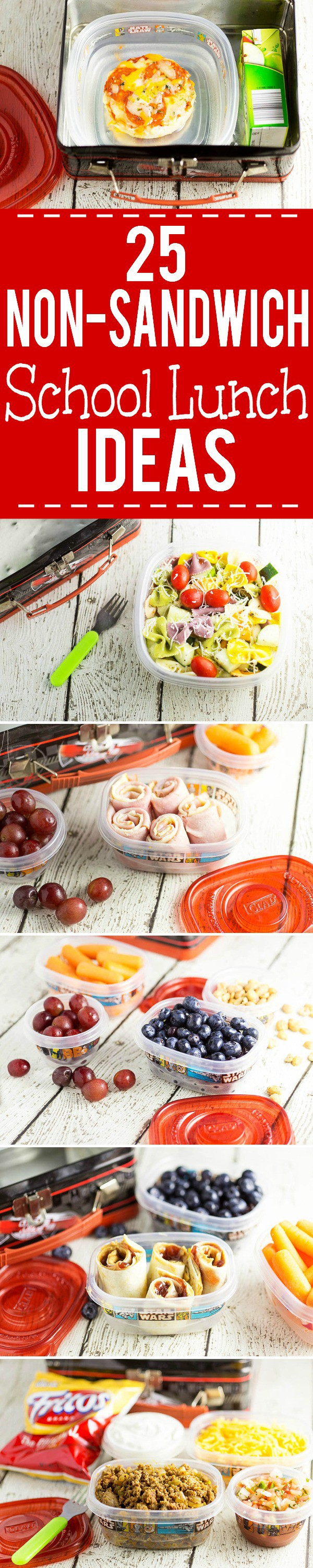25 Non-Sandwich School Lunch Ideas - Learn how to stay out of a lunchbox rut! Be inspired to get out and stay out of a lunchbox rut this school year with these 25 non-sandwich school lunch ideas that your kids will love! These are great ideas!
