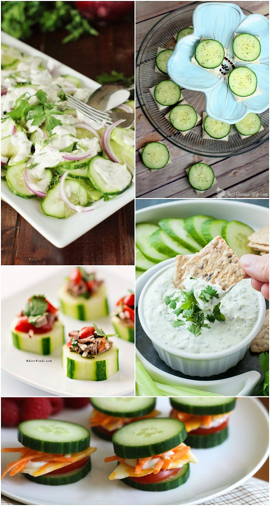 60 Recipes with Fresh Cucumbers - Crisp, cool, fresh cucumbers from the garden add a delightfully refreshing flavor to any dish.  Use up your garden fresh cucumber harvest with these 60 delicious recipes with fresh cucumbers.