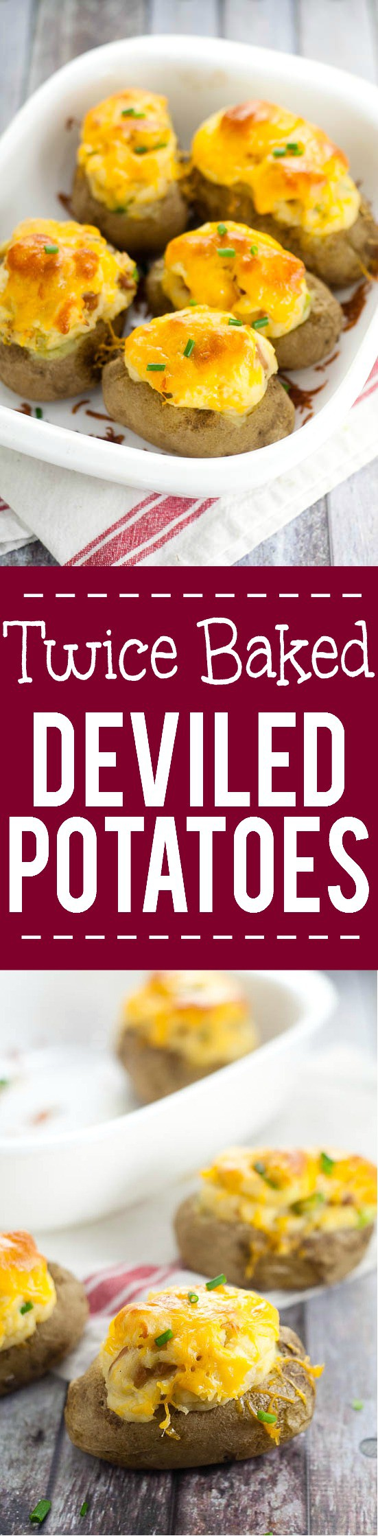 Twice Baked Deviled Potatoes recipe - Named after their eggy-likeness, these Twice Baked Deviled Potatoes are tangy baked potatoes, whipped, and oven-baked to golden perfection. Yummy and easy potato side dish recipe!