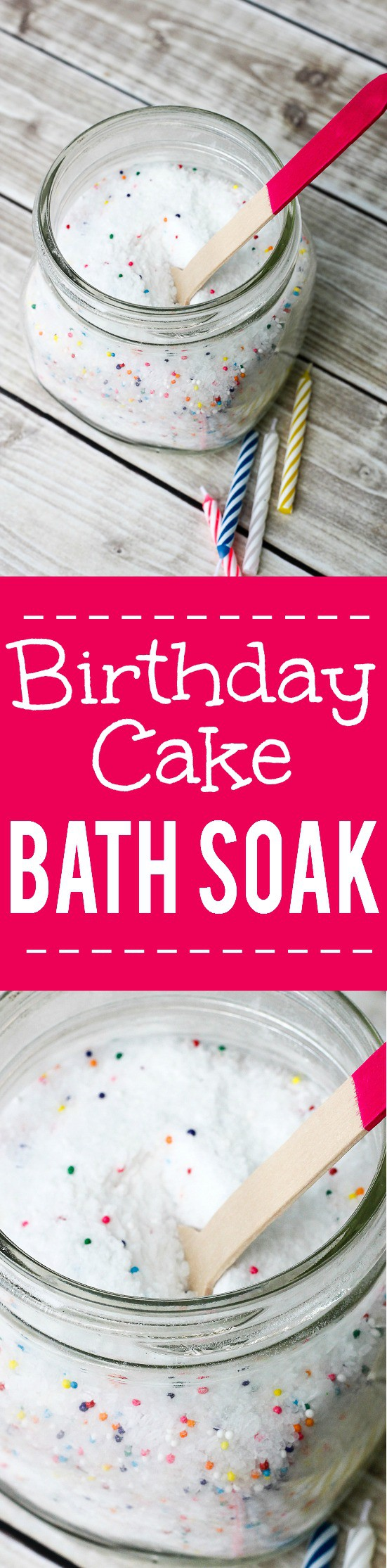 DIY Birthday Cake Bath Salts Tutorial - Relax and celebrate your birthday everyday with these DIY homemade Birthday Cake Bath Salts. This bath soak is also a yummy DIY gift idea. Check out the tutorial! Ooooh! Love this! I think it would make a great gift idea for tweens too!