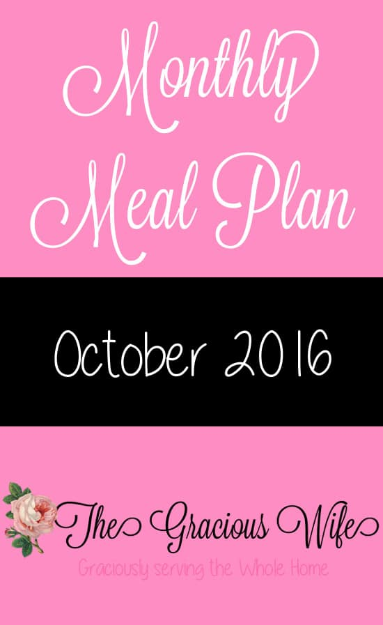 October 2016 Monthly Meal Plan - Easy October 2016 Monthly Meal Plan for weekly and daily breakfast, snack, and dinner. All you need to do is print, add your sides and shop!