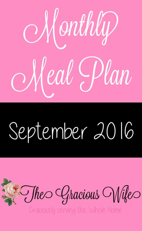 September 2016 Monthly Meal Plan - Easy September 2016 Monthly Meal Plan for weekly and daily breakfast, snack, and dinner. All you need to do is print, add your sides and shop!