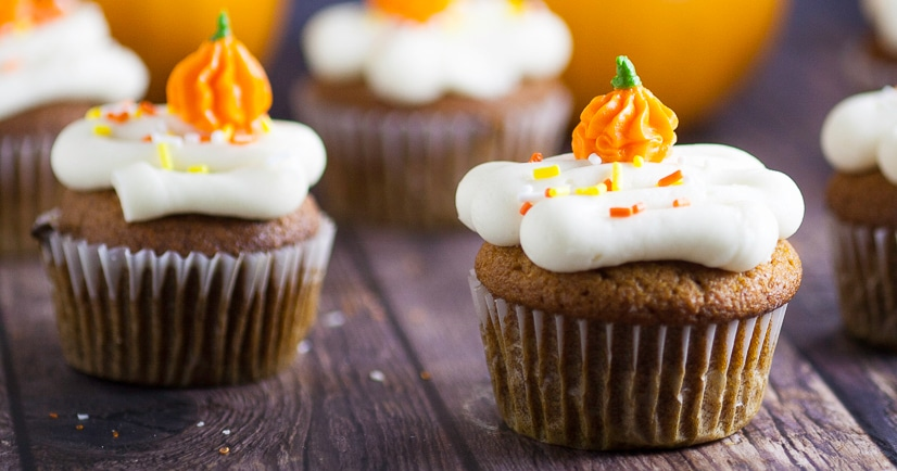 Pumpkin Spice Cupcakes Recipe - These scrumptious and festive Pumpkin Spice Cupcakes topped with cream cheese frosting are an incredibly delicious and flavorful easy dessert recipe for Fall.  Perfect for all pumpkin lovers! This is one of my favorite pumpkin recipes. Make them every fall.