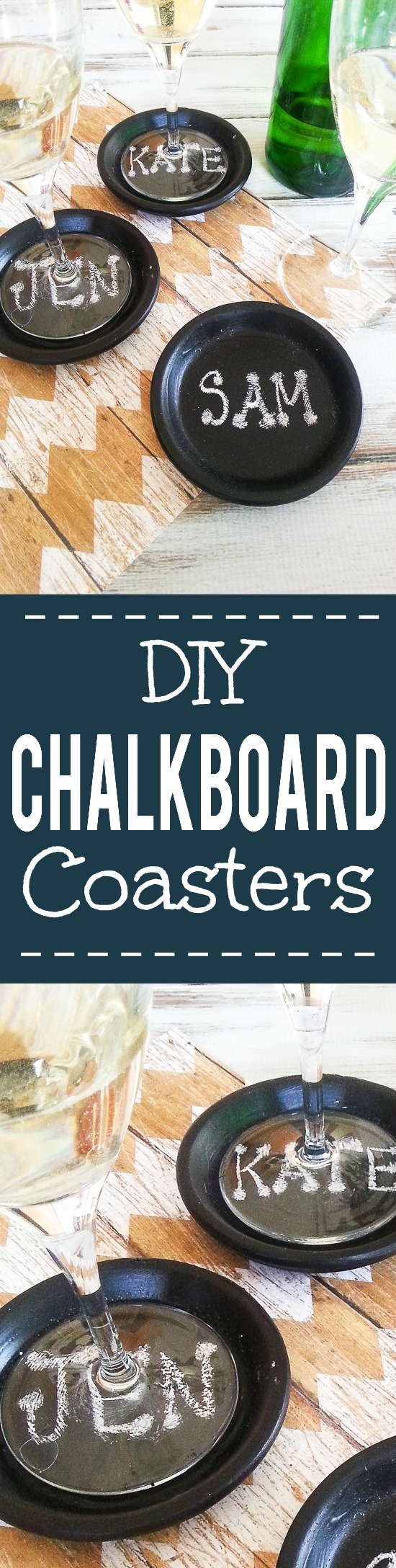 How to Make Easy DIY Chalkboard Coasters { TUTORIAL} - These easy DIY Chalkboard Coasters are perfect for daily use, parties, and even make pretty table settings.  Make these fun coasters with this simple, easy-to-follow tutorial. So cute!