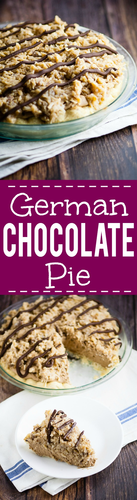 German Chocolate Pie recipe - Silky and creamy, this sweet German Chocolate Pie recipe combines a chocolate cream pie with German sweet chocolate, topped with caramel coconut pecan frosting to make a pie that's to-die-for. Such an easy pie recipe!