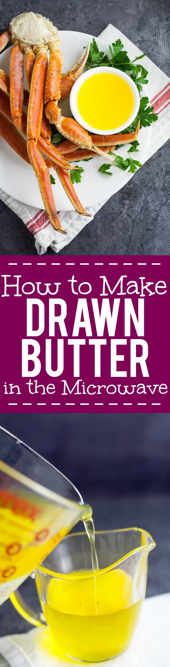 How to Make Clarified Butter in the Microwave Tutorial - Learn how to make clarified butter in the microwave in just 5 simple steps. Drawn butter is perfect for your favorite seafood and so easy to make! Wow! This will be perfect the next time we have surf and turf at home!