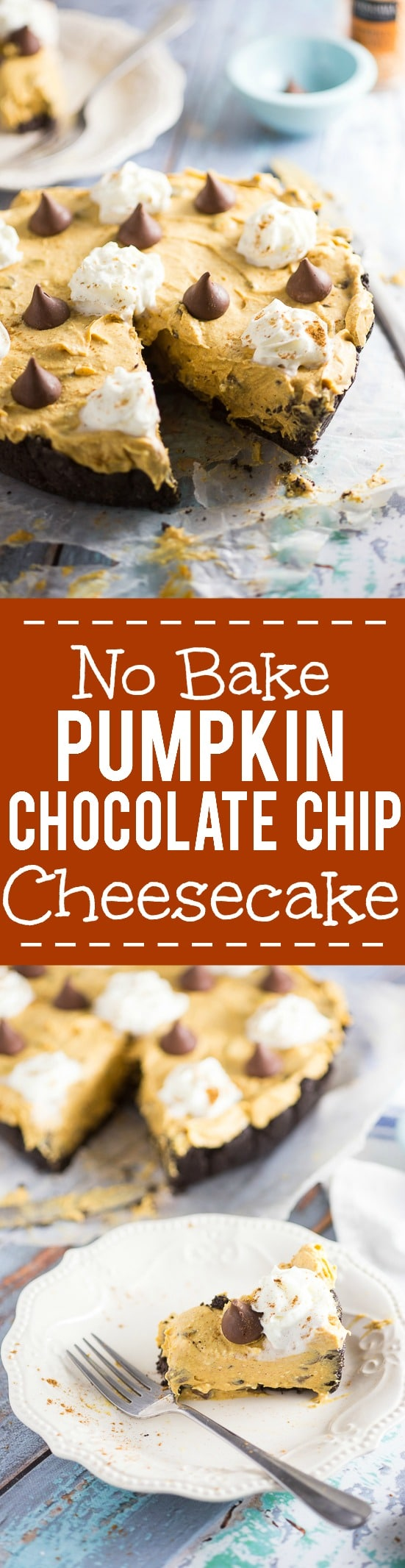No Bake Pumpkin Chocolate Cheesecake Recipe - Festive, delicious, and easy No Bake Pumpkin Chocolate Cheesecake with a no bake pumpkin spice filling and chocolate chips in a chocolate Oreo crust. Perfect for both pumpkin spice lovers and chocolate lovers! No bake pumpkin spice cheesecake, chocolate chips, and a chocolate oreo crust?! Sounds amazing. Would be an easy Thanksgiving dessert recipe too!