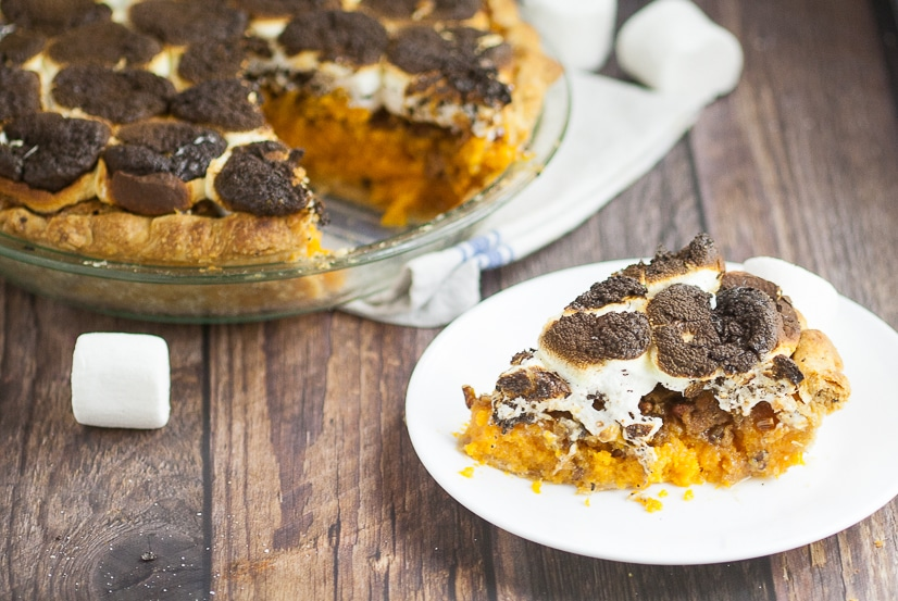 Toasted Marshmallow Sweet Potato Pie Recipe - Toasted Marshmallow Sweet Potato Pie recipe with golden toasted marshmallows and sweet potatoes in a flaky crust.  A classic sweet potato pie recipe with a gooey, sweet, marshmallow twist! This looks so yummy for Thanksgiving! Perfect easy Thanksgiving dessert recipe!