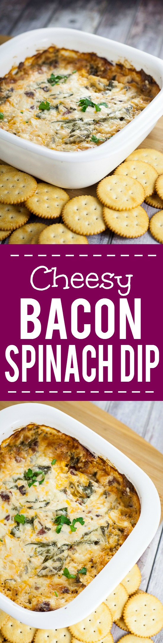 Cheesy Bacon Spinach Dip recipe - Quick, easy, and especially tasty, this Cheesy Bacon Spinach Dip recipe takes just 30 minutes to make, can be made ahead, and is a perfect cozy dip for your next party or gathering! Great easy appetizer recipe for a crowd!