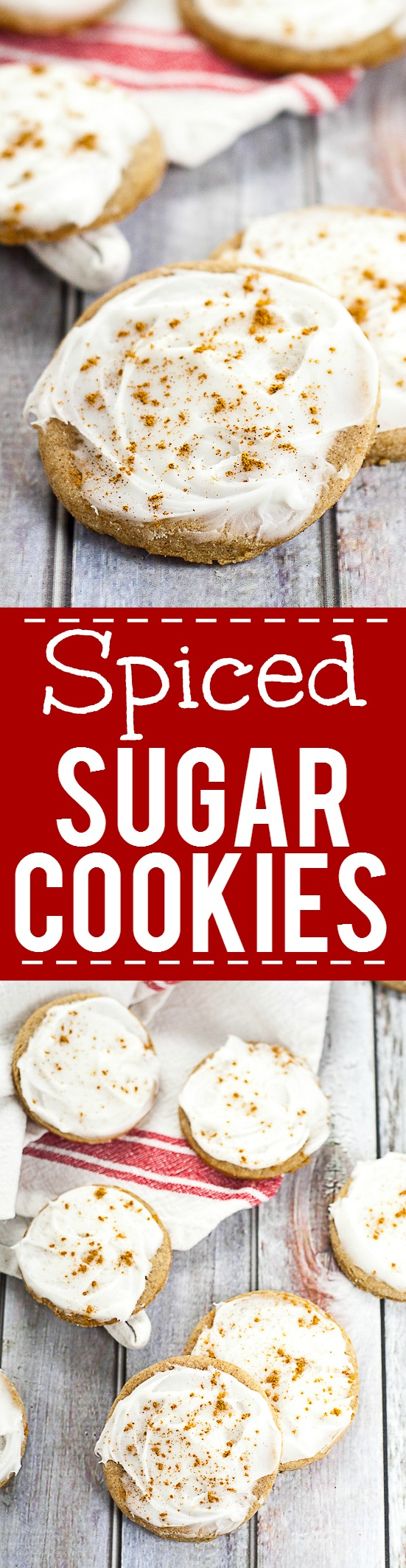 Spiced Sugar Cookies Recipe - Spiced Sugar Cookies recipe take your traditional sugar cookies and make them amazing with spicy cinnamon and nutmeg, topped with a creamy frosting and a sprinkle of cinnamon! These make such easy and yummy Christmas cookies! Perfect for a Christmas cookie exchange!
