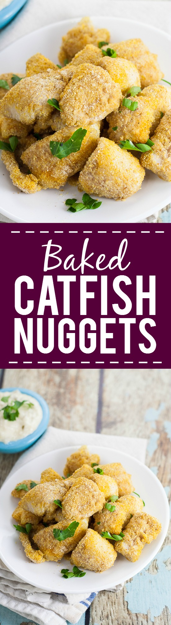 Baked Catfish Nuggets Recipe - Make these healthy, quick, and easy Baked Catfish Nuggets in just 30 minutes with 5 ingredients. Breaded with cornmeal and Cajun seasoning for a kick. Serve with your favorite sauce! So good! And such a quick and easy seafood recipe.