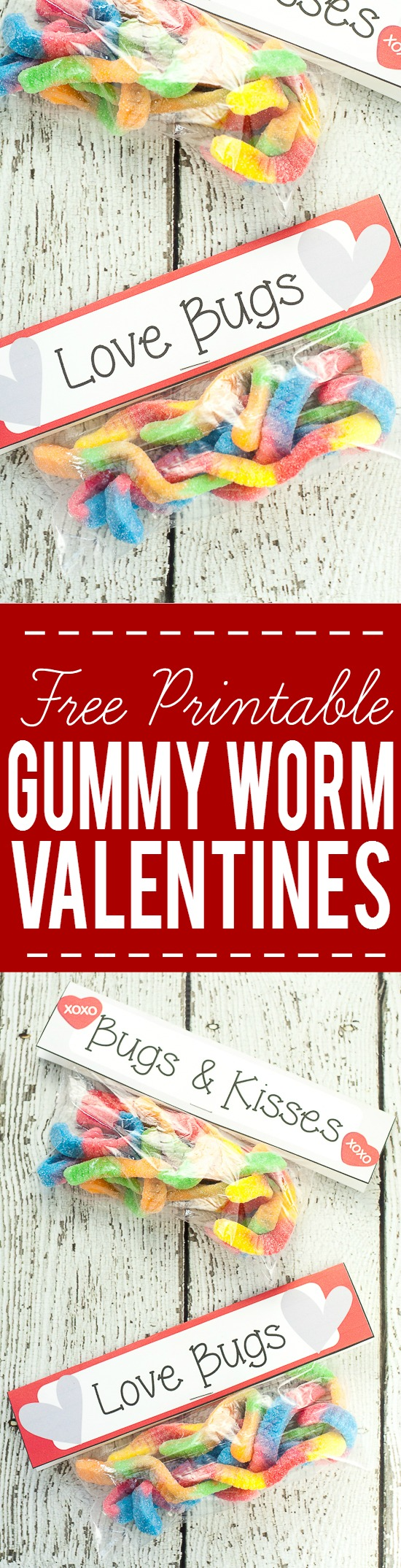 picture about Bugs and Kisses Free Printable named Absolutely free Gummy Worm Valentine Printables Do it yourself Valentines