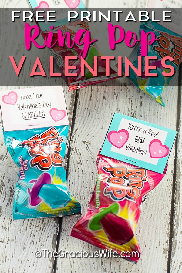 Free Printable Ring Pop Valentines that are easy to put together and perfect for kids to hand out at their school Valentine's Day party. #valentines #valentinesday #valentinescards