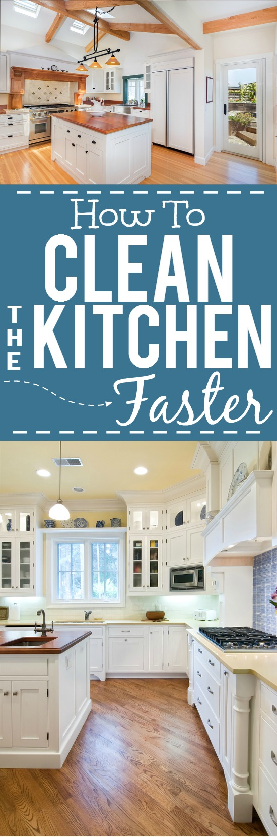 5 Tips to Help Clean Your Kitchen Faster -Whether you're Spring cleaning or just running a busy schedule, use these 5 simple tips to help clean your kitchen faster! Great cleaning tips and tricks for kitchen!