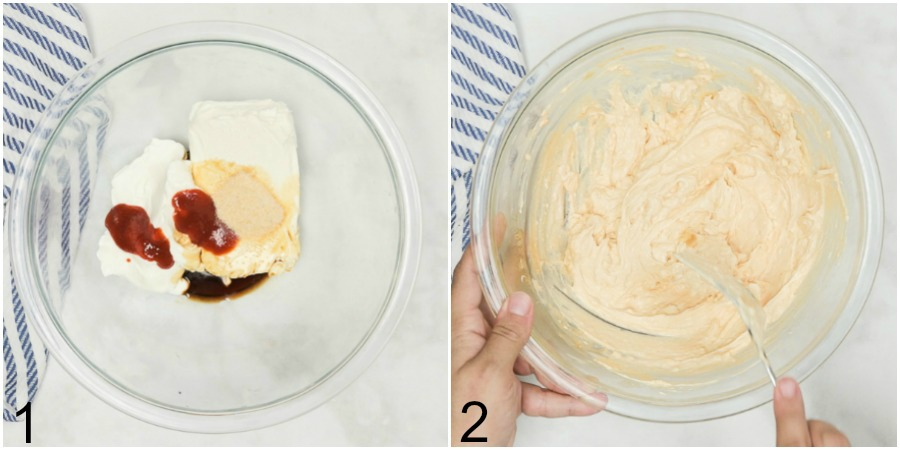 Collage of adding cream cheese base ingredients to a large glass bowl for crab rangoon dip