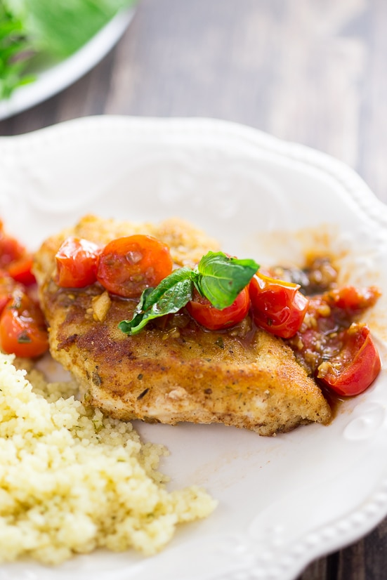Easy parmesan crusted chicken with tomato sauce