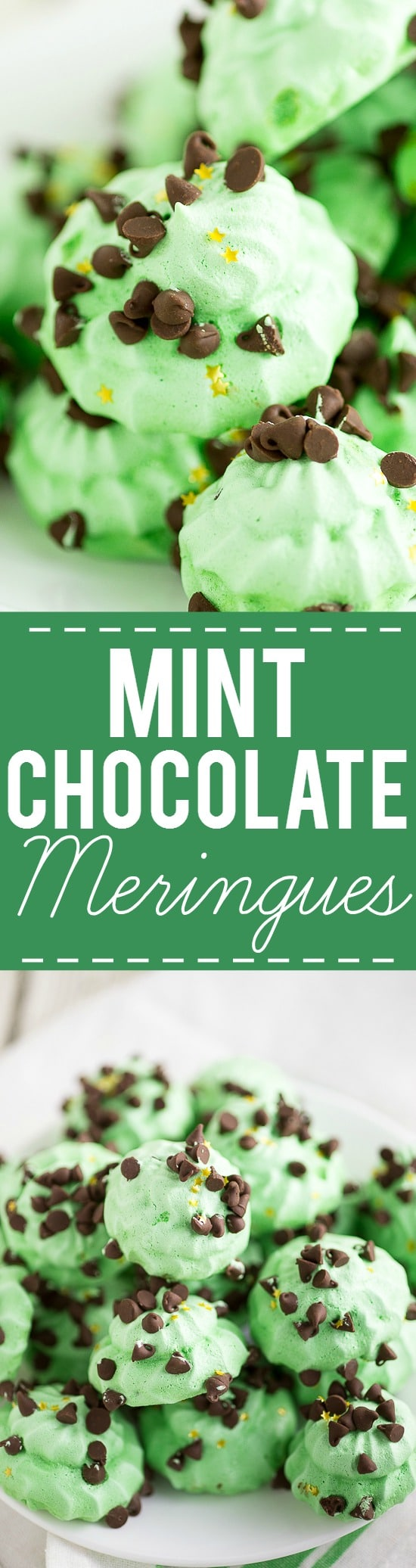 Mint Chocolate Meringues Recipe - Light and fluffy with the perfect amount of crispy, these cool and minty Mint Chocolate Meringues are perfect for mint chocolate lovers. Festive for Christmas or St Patrick's Day too!