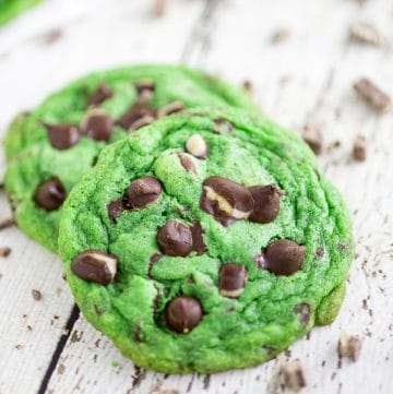 Mint Chocolate Chip Cookies Recipe -Cool, refreshing cookies with decadent chocolate chips all in this chewy Mint Chocolate Chip Cookies recipe. Perfect for Mint Chocolate lovers! SO good! I love mint chocolate. Super festive for St Patrick's Day or Christmas too!